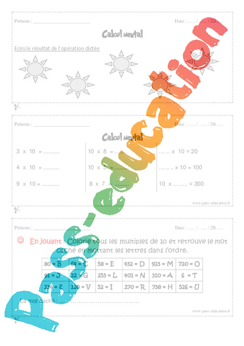 Sayten exercices table de multiplication ce2 manuel - Calcul mental table de multiplication ...