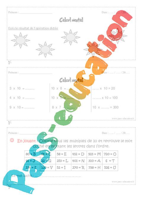 Calcul mental cm1 exercice et bilan semaine 5 8 - Calcul cm1 a imprimer ...