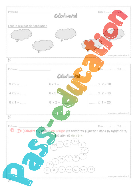 Calcul mental cm1 exercice et bilan semaine 5 8 for Table de multiplication par 8