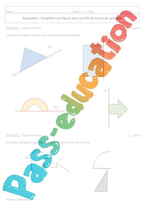 Sym trie axiale 6 me evaluation imprimer pass education - Symetrie a imprimer ...