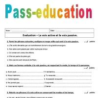 Voix active - Voix passive - 4ème - Contrôle - Pass Education