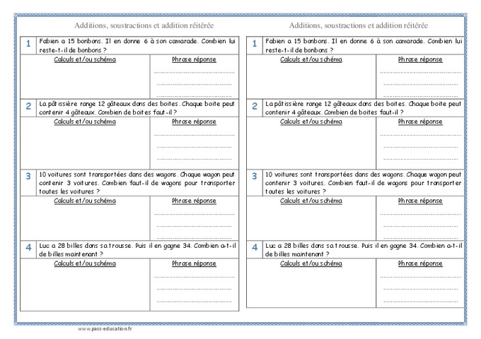 Addition soustraction addition r it r e ce1 probl mes pass education - Addition et soustraction ce1 ...