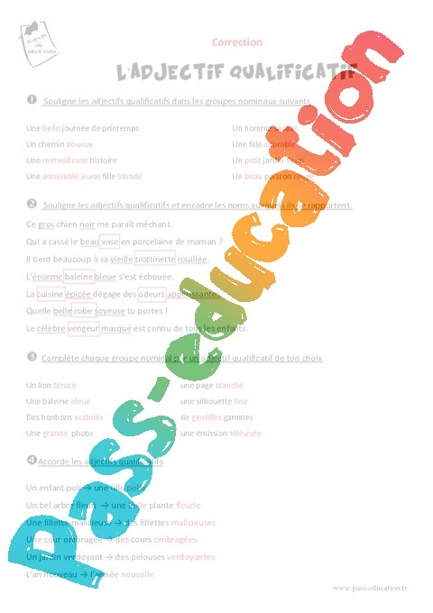 les fonctions de l adjectif qualificatif pdf