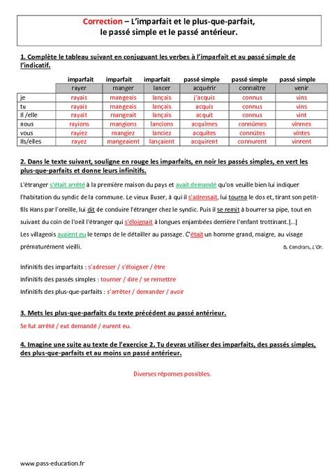 plus-que-parfait exercises pdf