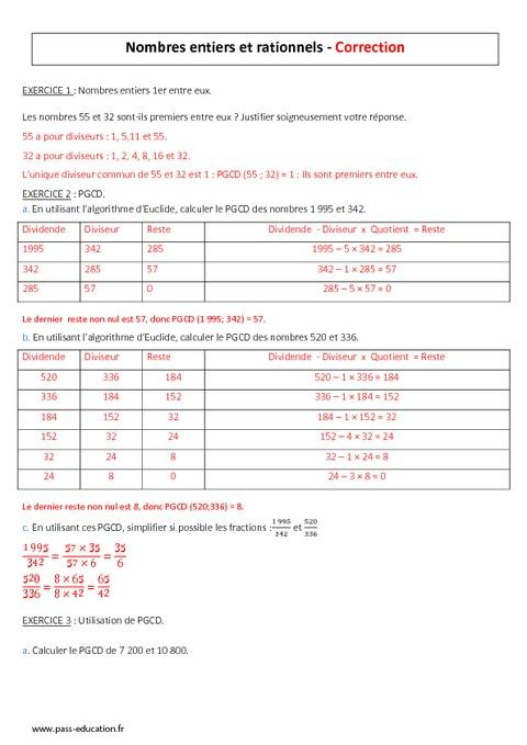 Nombres entiers 3ème Mathématiques