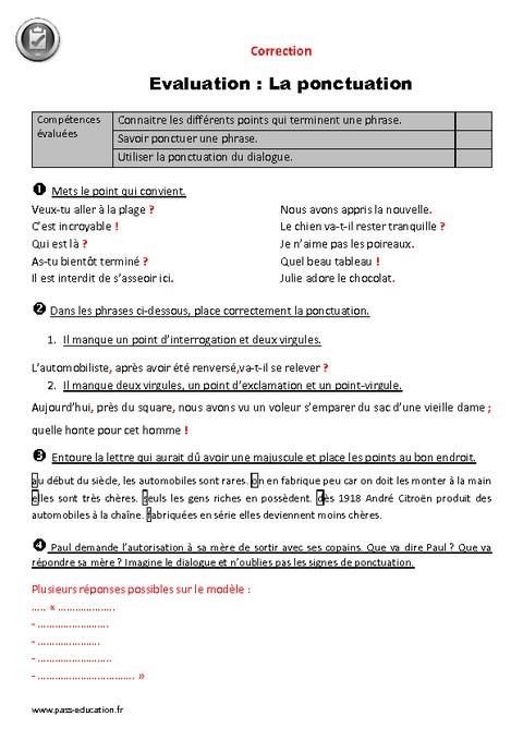 Exclamation Point In Car >> Ponctuation - Cm1 - Evaluation avec le corrigé - Pass ...
