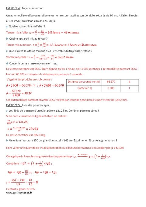 Proportionnalité - 4ème - Contrôle à imprimer - Pass Education