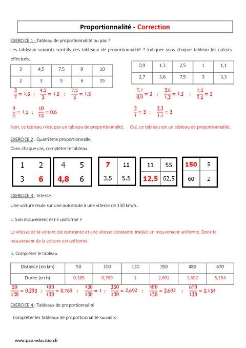 Proportionnalité - 5ème - Contrôle à imprimer - Pass Education
