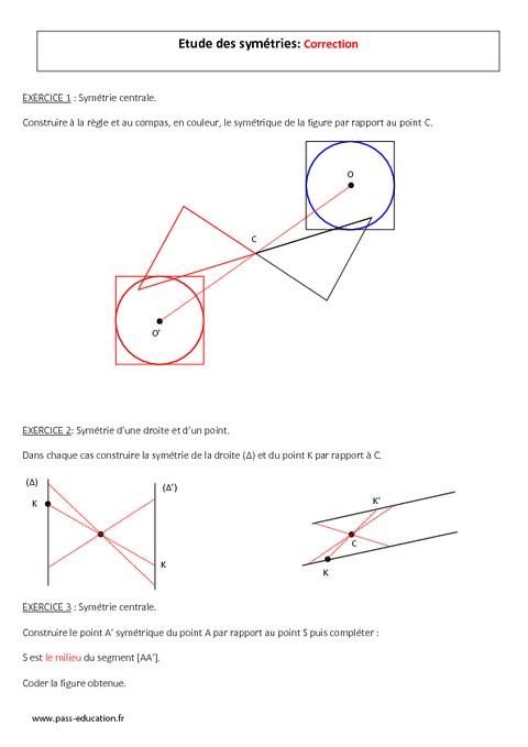 Sym trie centrale 5 me evaluation imprimer pass education - Symetrie a imprimer ...