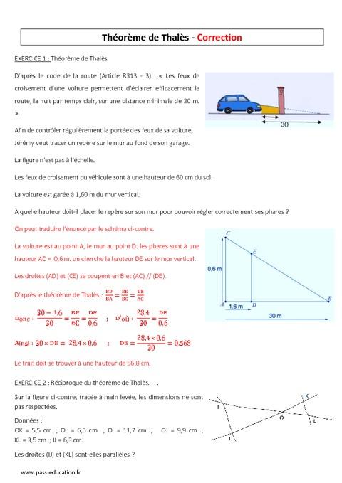 Théorème de Thalès - 3ème - Evaluation - Pass Education
