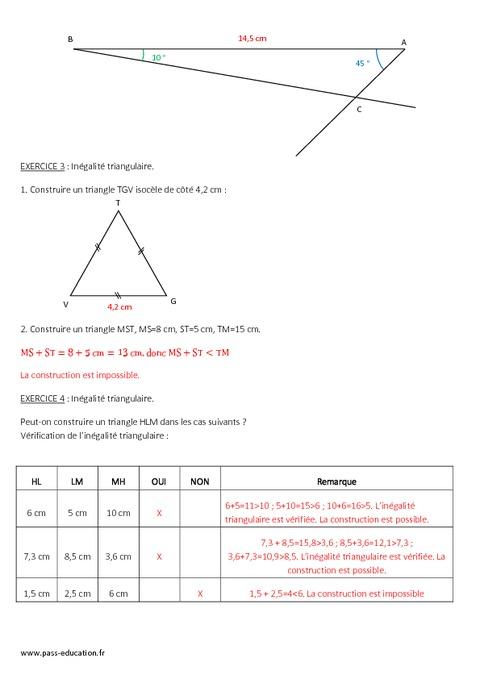 Triangles - 5 U00e8me - Evaluation Sur Les Propri U00e9t U00e9s