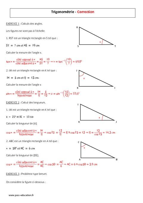 Trigonométrie - 3ème - Evaluation à imprimer - Pass Education