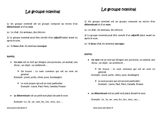 Groupe nominal - Ce2 - Leçon - Pass Education
