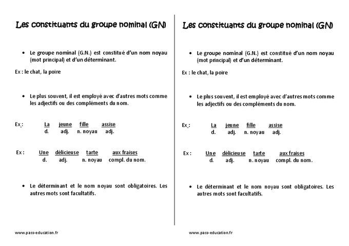 Groupe nominal GN - Cm1 - Leçon - Pass Education