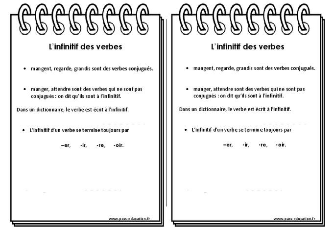 infinitif des verbes ce2 leçon pass education
