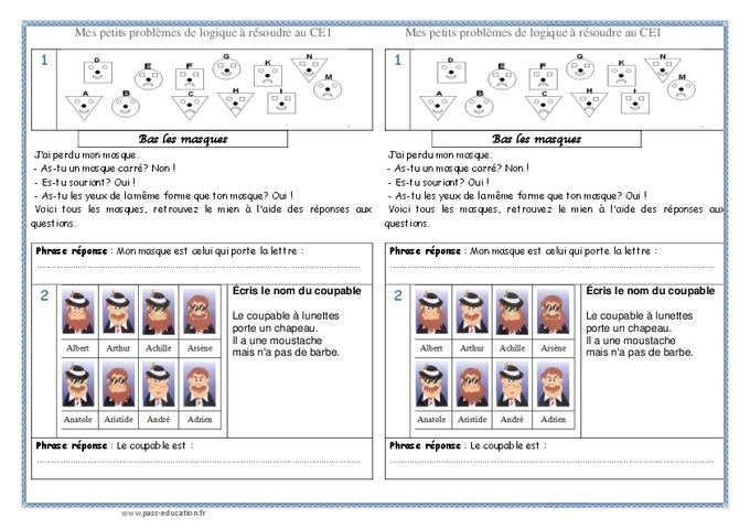Logique ce1 probl mes pass education for Portes logiques pdf