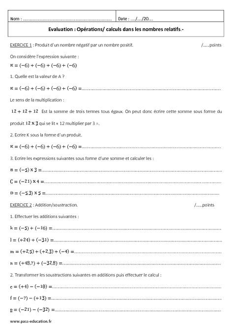 nombres relatifs - 4 u00e8me - evaluation  u00e0 imprimer