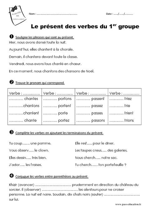 Présent des verbes du 1er groupe - Ce1 - Exercices - Pass Education