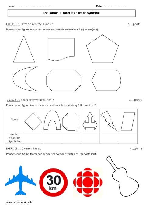 Symétrie axiale - Tracer un axe - 6ème - Evaluation - Pass Education