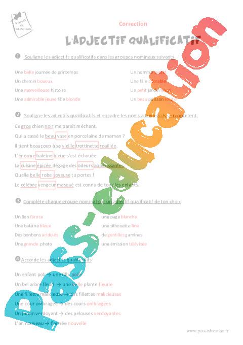Adjectif qualificatif - Cm1 - Exercices avec le corrigé - Pass Education