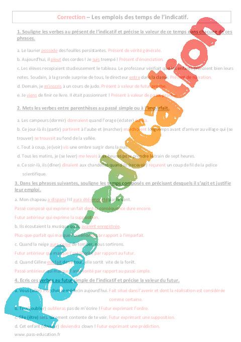Emplois des temps de l indicatif 4 me contr le - Exercice corrige de table de karnaugh pdf ...