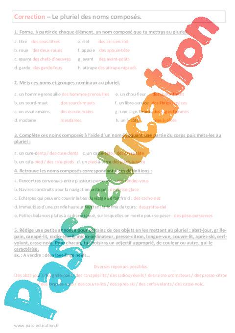 Groupes Nominaux Au Pluriel 4eme Evaluation Pass Education