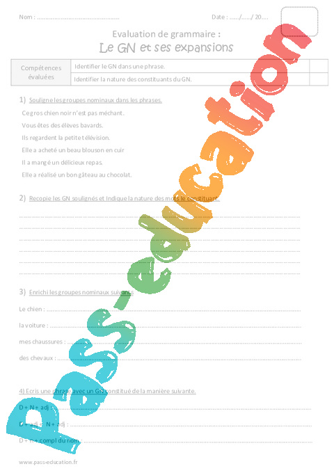 GN et ses expansions - Cm1 - Evaluation sur le groupe nominal - Pass Education
