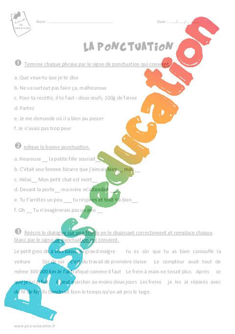 Ponctuation - Cm2 - Exercices avec le corrigé - Pass Education