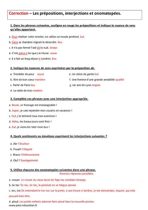 Pr positions interjections et onomatop es 4 me - Exercice corrige de table de karnaugh pdf ...