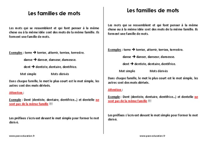 Familles de mots - Cm2 - Leçon - Pass Education