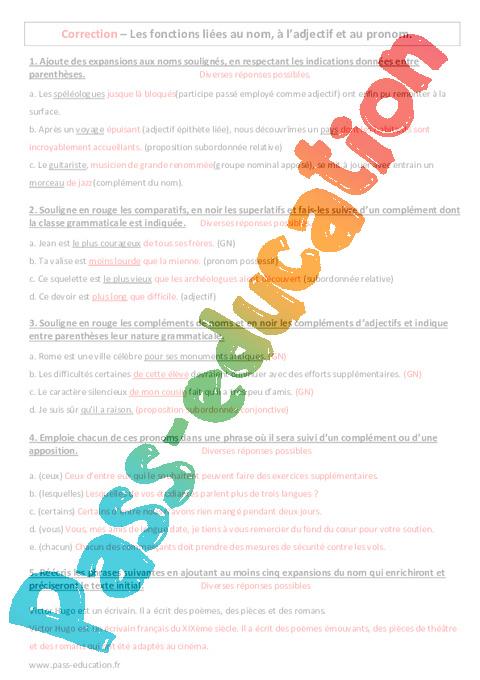 Fonctions li es au nom l adjectif et au pronom 3 me - Exercice corrige de table de karnaugh pdf ...