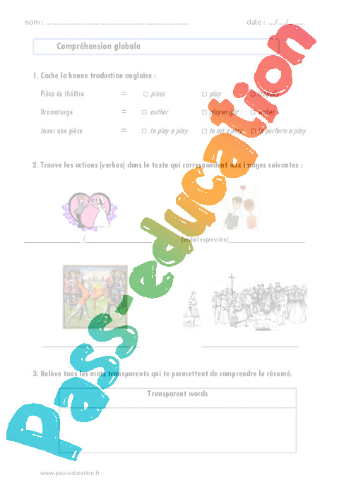 shakespeare - romeo and juliet - 4 u00e8me - lecture compr u00e9hension en anglais