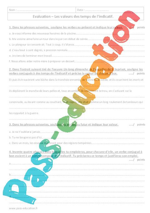 Valeurs Des Temps De L Indicatif 3eme Evaluation Avec Le Corrige