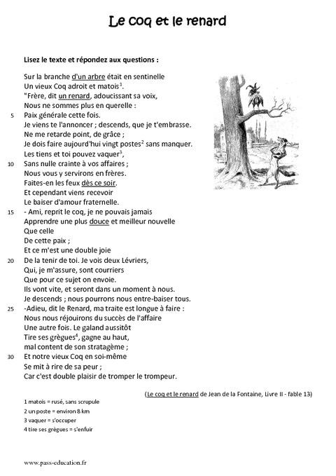 Le coq et le renard - 6ème - Lecture - Fable - Récit ...