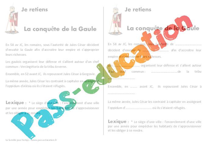 Conquete De La Gaule Ce2 Cm1 Lecon Antiquite Pass Education