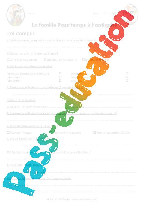 La Famille Pass Temps A L Antiquite Ce2 Cm1 Questionnaire Sur