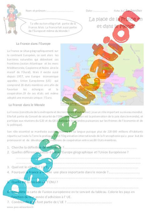 Carte De Leurope Pour Ce2.La Place De La France Dans L Europe Et Le Monde Cm1 Exercices