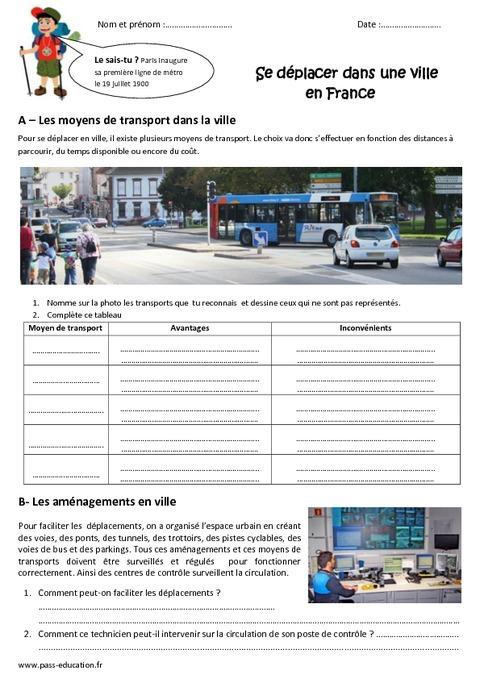 Exercices Villes De France Cm