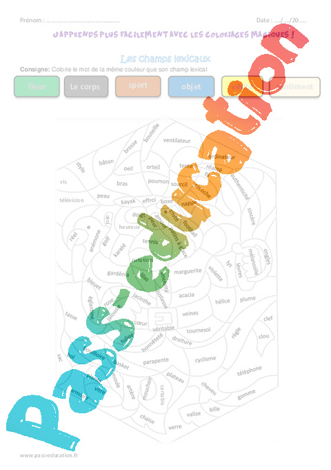 Champs lexicaux cm2 coloriage magique pass education - Coloriage magique pour cm2 ...