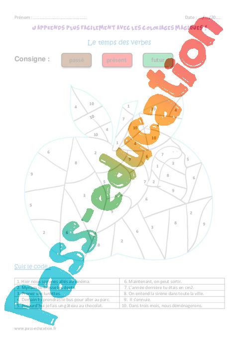 Temps des verbes ce1 coloriage magique pass education - Ce1 coloriage magique ...