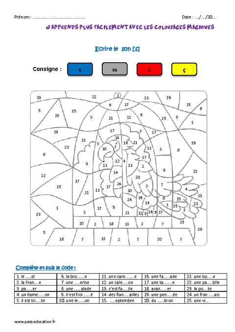 Le son s ce2 coloriage magique pass education - Coloriage magique son ...