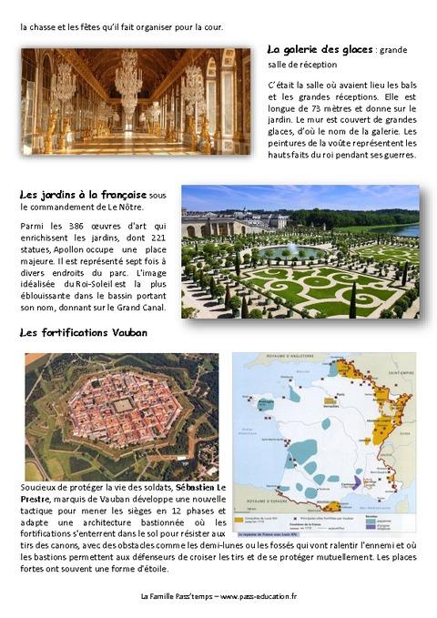 Louis xiv versailles et les citadelles vauban cm1 exercices pass education - Histoire des arts les jardins de versailles ...