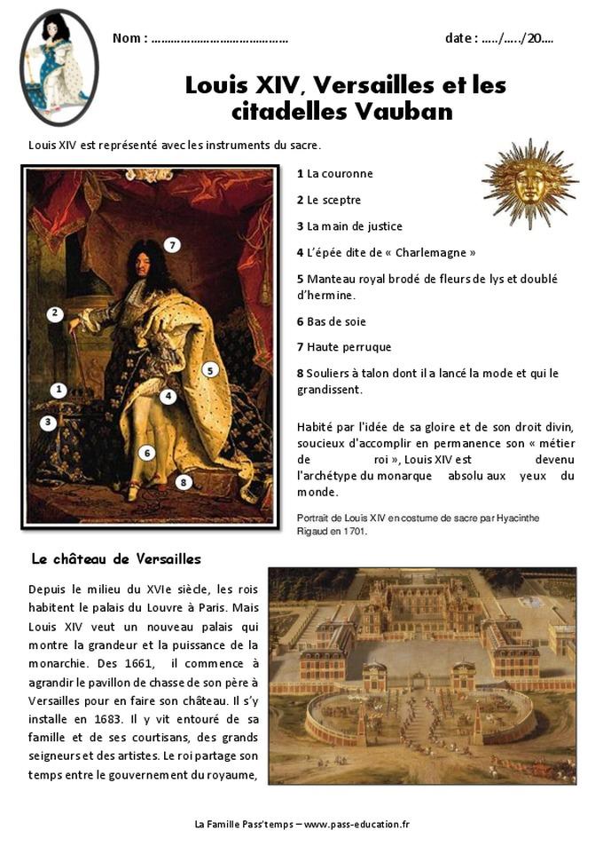 Louis XIV, Versailles et les citadelles Vauban - Cm1 - Exercices - Pass Education