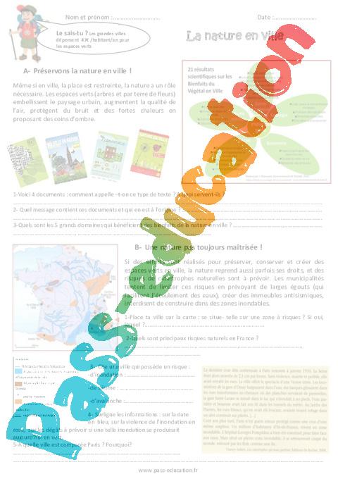 La nature en ville cm2 exercices pass education for La nature en ville