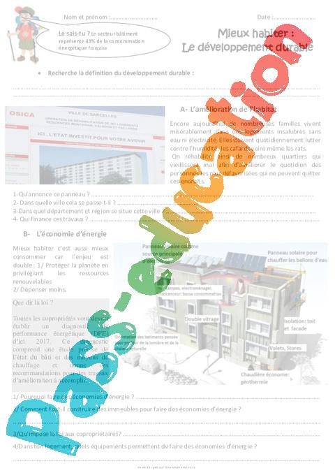 mieux habiter le d veloppement durable cm2 exercices pass education. Black Bedroom Furniture Sets. Home Design Ideas