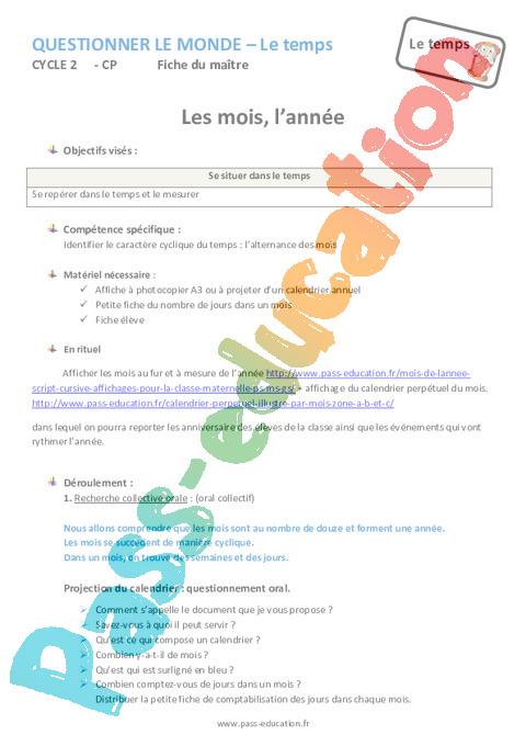 Mois Annee Cp Fiche De Preparation Pass Education