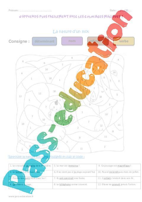 Nature d un mot ce1 coloriage magique pass education - Ce1 coloriage magique ...