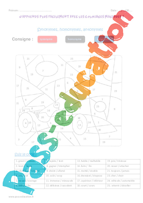Synonymes homonymes antonymes cm2 coloriage magique - Coloriage magique cm2 francais ...