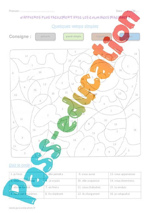 Temps simples cm1 coloriage magique pass education - Coloriage magique cm2 conjugaison ...