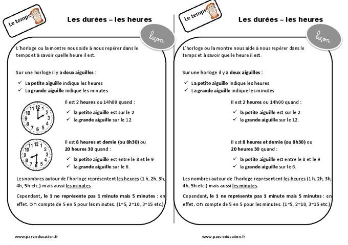 Durées - Heures - Ce1 - Leçon - Pass Education